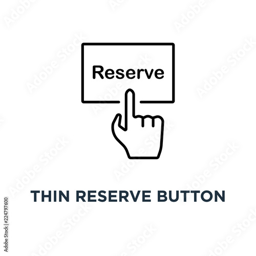 Fotografia thin reserve button with black hand icon, symbol of pre order booking luxury hot
