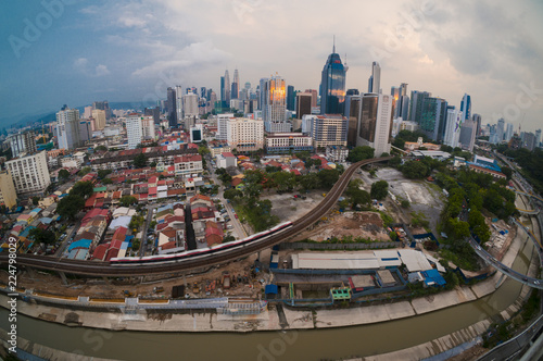 Poster Seoel Colorful and dramatic sky during golden hours at Kuala Lumpur, Malaysia