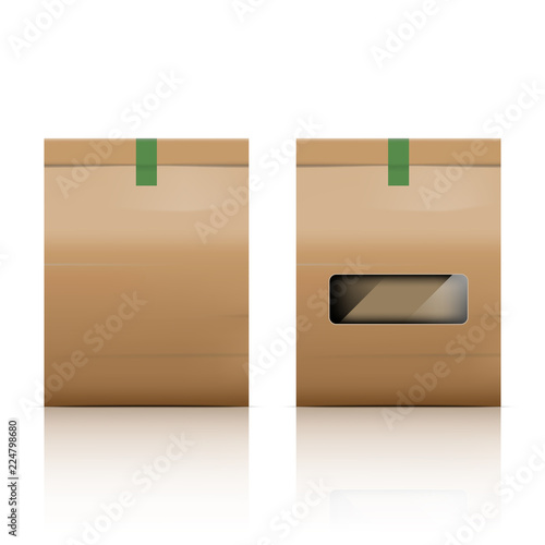 Obraz Paper bag packaging with reflect on white background - fototapety do salonu