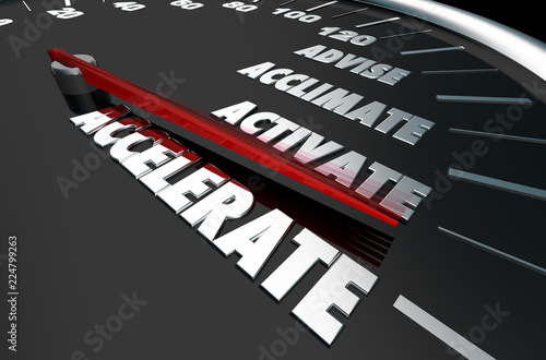 Photo Advise Acclimate Activate Accelerate Speedometer Words 3d Illustration
