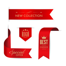 New Tag Ribbon And Banner Vector. Red Badge Luxury Design.