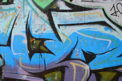 Fragment of graffiti drawings Canvas Print