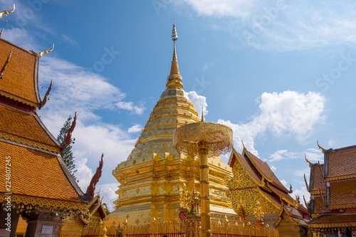 Buddhist Temple name Wat Phra That Doi Suthep in Chiang Mai city, Thailand - The most beautiful golden stupa in Thai. ​