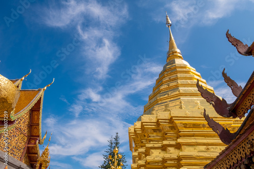 Buddhist Temple name Wat Phra That Doi Suthep in Chiang Mai city, Thailand - The most beautiful golden stupa in Thai. 