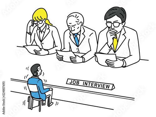 Obraz Nervous applicant in job interview - fototapety do salonu