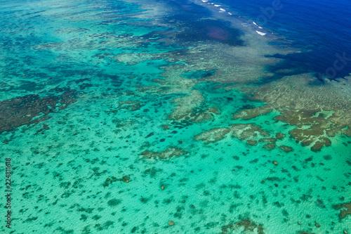 Top view of Tropical lagoon in Ishigaki island
