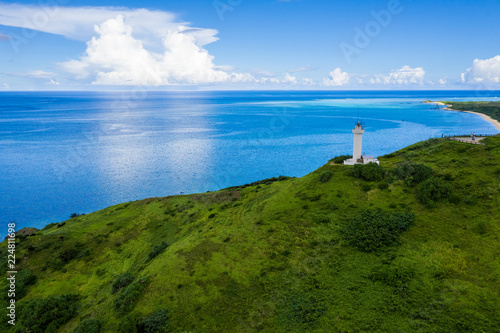 Top view of Cape Hirakubozaki in Ishigaki island with sunshine