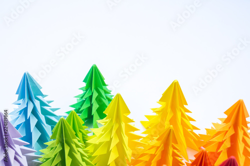 Multicolored paper Christmas tree white background