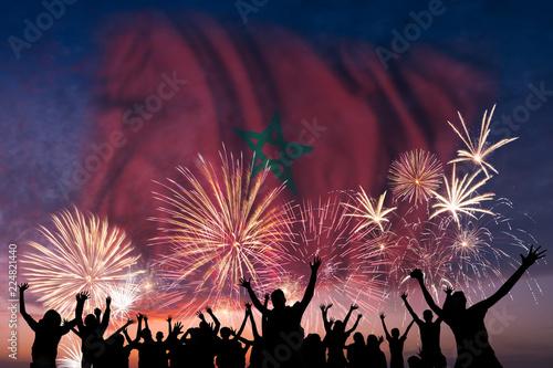 Foto op Plexiglas Marokko People are looking on fireworks and flag of Morocco