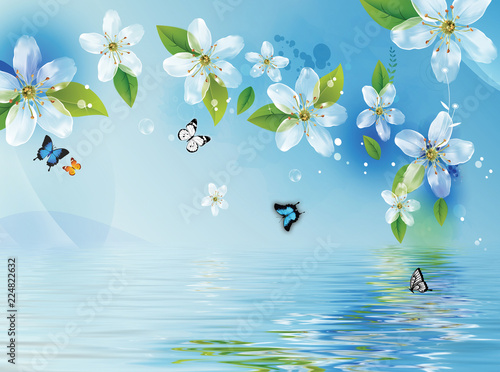 Fotobehang Lichtblauw Blue background, water, flowers and butterflies