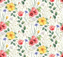 Seamless pattern with wildflowers: poppy, cornflower, chamomile and herbs. Hand drawn watercolor illustration for fabric, wrapping, wallpapers and other designs. Floral botanical print.