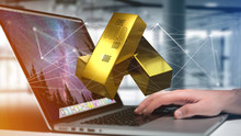 Gold Bullion Shinning In Front Of Connection - 3d Render