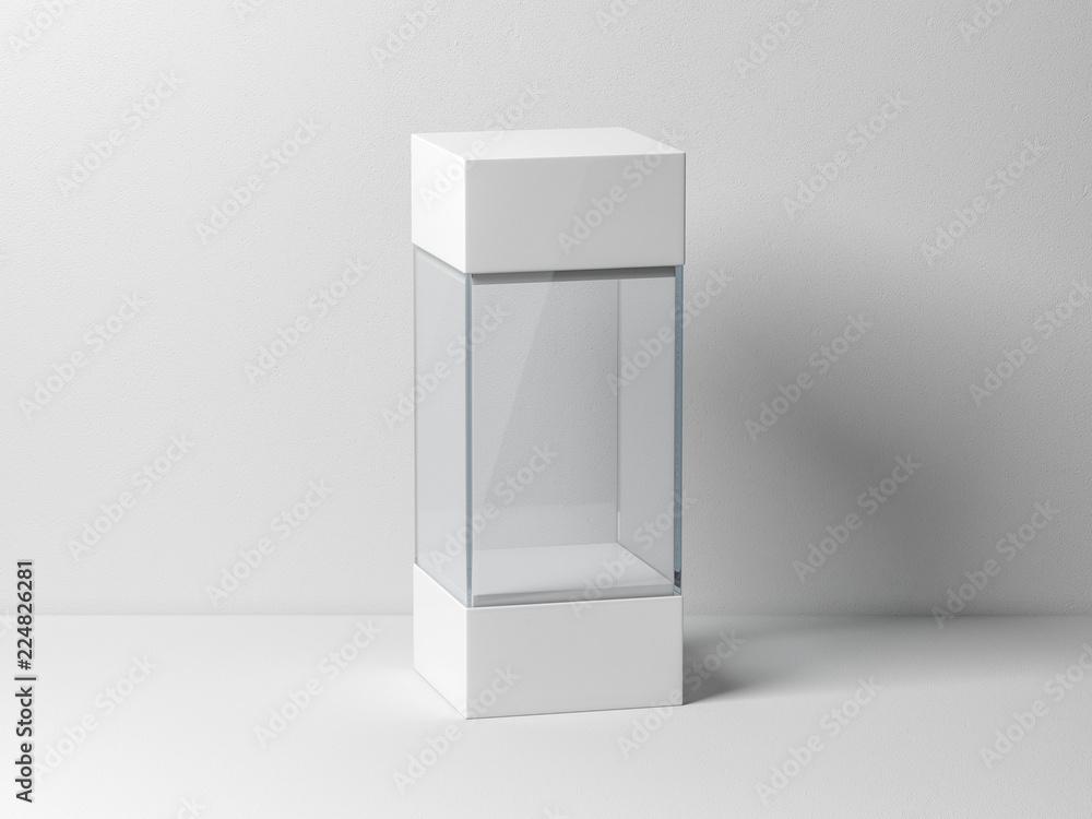 Fototapeta Empty plastic glass box package mockup for exhibit