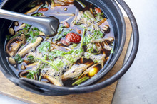 Ba Ku Teh, Malaysian Herbal Cuisine Of Pork Soup. Delicious And Healthy Cuisine Gourmet On The Table