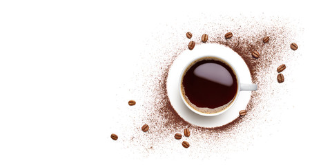 Panel Szklany Do kuchni Black coffee, coffee beans and coffee powder
