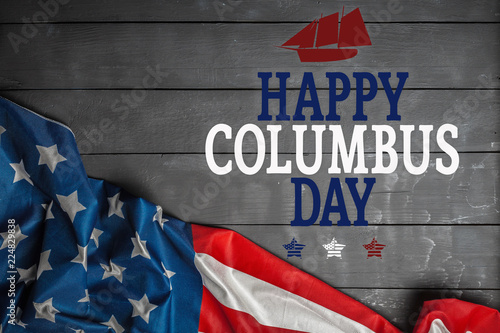Foto Happy Columbus day banner, american patriotic background