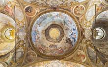 PARMA, ITALY - APRIL 15, 2018: The Fresco Of Assmption Of Virgin Mary In Side Cupola Of Church  Chiesa Di Santa Cristina By Filippo Maria Galletti (1636-1714).
