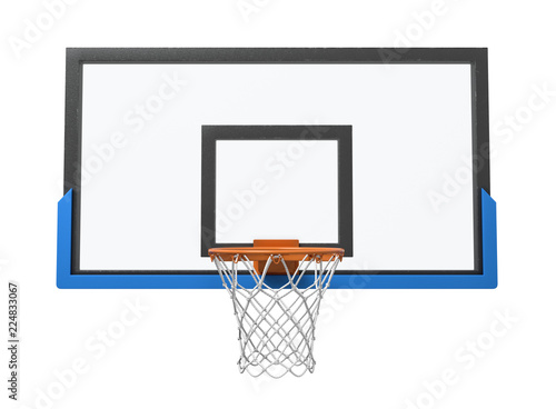 Photo 3d rendering of a basketball hoop with an empty basket and transparent backboard
