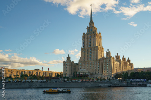 Foto op Plexiglas Moskou Moscow city image at the sunset. One of the Stalin era houses image (Ukraina hotel)