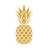 Ananas złoty z liściem. Tropikalnej złocistej egzotycznej owoc odosobniony biały tło. Symbol żywności ekologicznej, lato, witamina, zdrowy. Logo natury. Ikona sylwetka element projektu. Ilustracji wektorowych - 224836489
