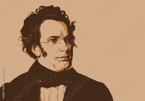 Schubert, musicien, portrait, personnage, musique, célèbre, classique, composite Poster Mural XXL