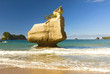 White limestone rock formations and fine sandy beach at Cathedral Cove on the Coromandel Peninsula in New Zealand, North Island.