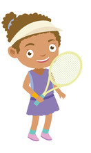 Little Young Girl Playing Tennis