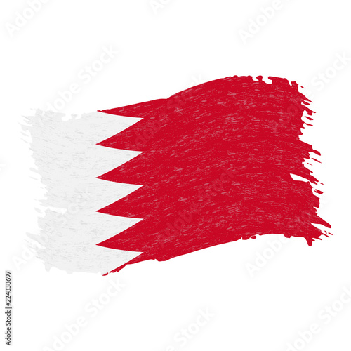 Fotografía  Flag of Bahrain, Grunge Abstract Brush Stroke Isolated On A White Background