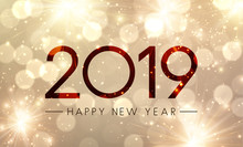Shiny Happy New Year 2019 Poster With Gold Fireworks.