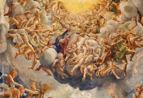 PARMA, ITALY - APRIL 16, 2018: The fresco of Assumpcion of Virgin Mary in cupola of Duomo by Antonio Allegri (Correggio - 1526-1530).