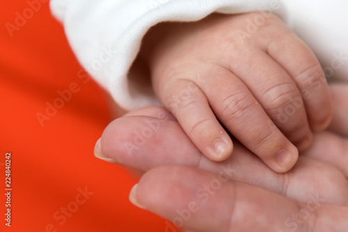Photographie Hand of a newborn in his mother's hand