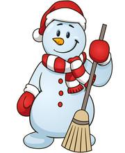 Cartoon Snowman Holding A Broom. Vector Clip Art Illustration Simple Gradients