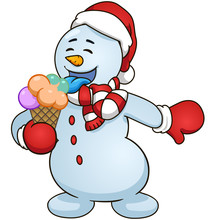 Cartoon Snowman Eat Ice Cream. Vector Clip Art Illustration Simple Gradients
