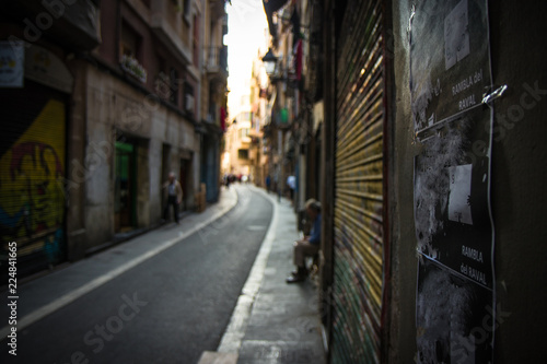 Acrylic Prints Narrow alley Narrow street of Barcelona