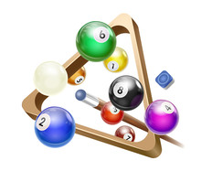 Flying Billiard Ball With Triangle Rack Vector Illustration Ready For Cards, Posters. Pool Snooker Games.