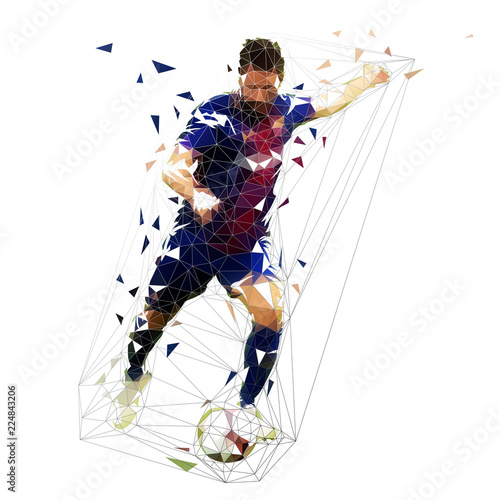 Football player in dark blue jersey kicking ball, abstract low poly vector drawing Tablou Canvas