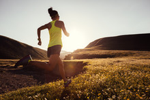 Young Fitness Woman Trail Runner Running On Sunset Grassland