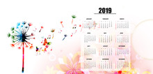 Calendar Planner 2019 Template With Colorful Dandelion. Nature Themed Calendar Poster, Week Starts Sunday. Calendar Layout For 2019 Isolated, Vector Illustration Background
