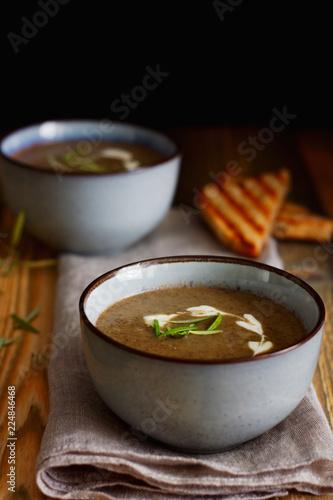 Fotografie, Obraz  zupa krem z pieczarek, pieczarkowa z grzanka