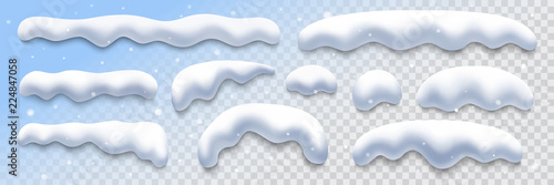 Obraz snow caps collection on transparent background, vector illustration design element - fototapety do salonu