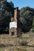 Old Stone Fireplace Remains In Paddock