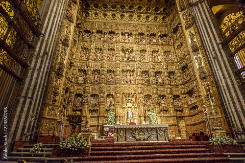 Fototapeta  altar of the cathedral of Seville, Andalucia. Spain