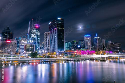Skyscrapers on coast at night