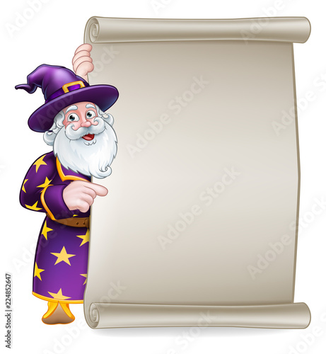 Photo A wizard cartoon character peeking around a scroll sign and pointing at it