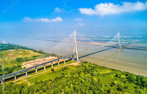 Obraz na plátně The Pont de Normandie, a road bridge across the Seine linking Le Havre to Honfle