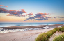 Druridge Bay Sandy Beach Near Sunset / Druridge Bay Is A Seven Mile Long Beach In Northumberland Between Amble To The North And Cresswell To The South