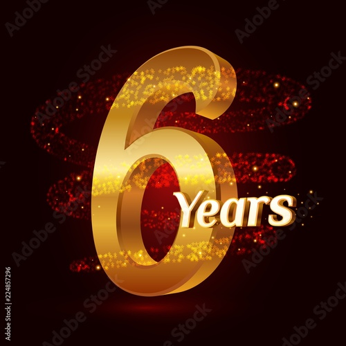 Fotografia  6 years golden anniversary 3d logo celebration with Gold glittering spiral star dust trail sparkling particles