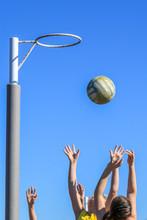 Netballers Jumping For Ball Ag...