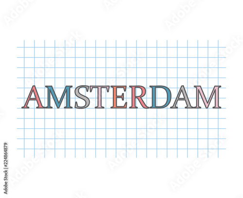 Photo  Amsterdam on checkered paper texture- vector illustration