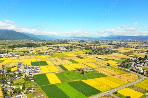 日本の秋の田園風景 空撮